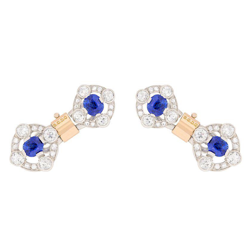 Art Deco Sapphire and Diamond Two-Tone Cufflinks, circa 1920s