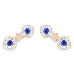 Art Deco Sapphire and Diamond Two-Tone Cufflinks, circa 1920s