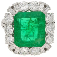 7.70 Carat Zambian Emerald and Diamond Cluster Cocktail Ring, 1960s