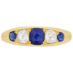 Late Victorian Sapphire and Diamond Five-Stone Ring, circa 1900s