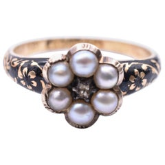 Antique Enamel, Pearl Cluster, Diamond and Gold Memorial Forget-Me-Not Ring