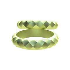 18 Karat Green Wedding Rings Bridal Set