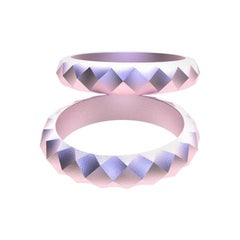18 Karat Pink Wedding Ring Bridal Set