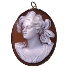 14 Karat Cameo Depicting Lady in Profile, 20th Century