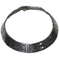 1970s Wide and Heavy Handmade Mexican Sterling Necklace