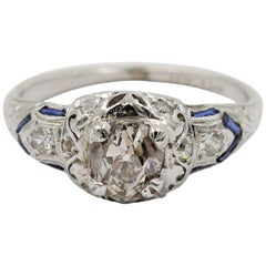 .85 Carat J/I3 Old Mine Cut Diamond Ring with Diamonds and Sapphires in Platinum