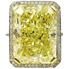 GIA Certified 18.13 Carat Fancy Yellow Radiant Cut Diamond Yellow Gold Pave Ring