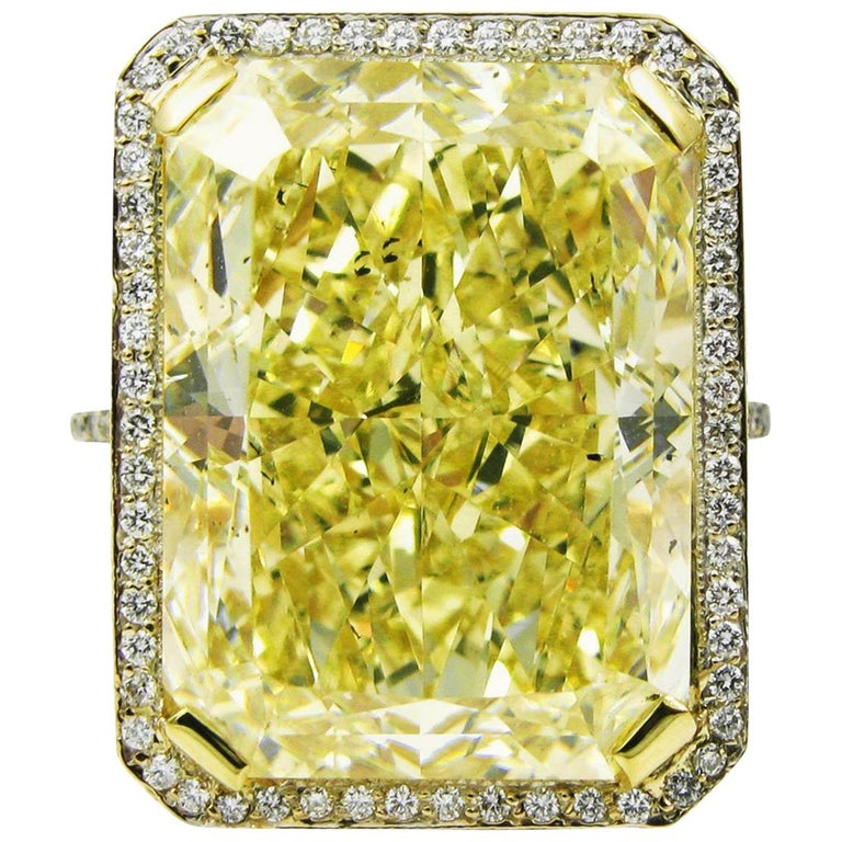 GIA Certified 18.13 Carat Fancy Yellow Radiant Cut Diamond Yellow Gold Pave Ring For Sale