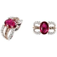 RING 18 Karat Rose Gold, 29.94 Carat Rubellite, 11.41 Carat Diamonds