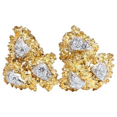 .75 Carat Natural Diamonds Golden Nugget Cufflinks 14 Karat