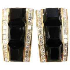 2.50 Carat Natural Princess Cut Diamonds Jet Black Onyx Clip Earrings 18 Karat
