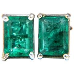 2.72 Carat Natural Green Emeralds Stud Earrings 14 Karat