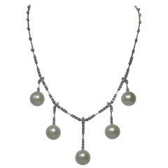 2 Carat Diamond Pearl Necklace in 14 Karat White Gold