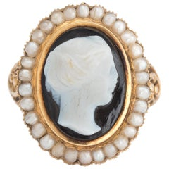 Antique Victorian Hard Stone Cameo Ring 14 Karat Gold Pearl Vintage Jewelry