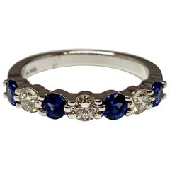 White Gold 1 Carat Total Weight Alternating Sapphire and Diamond Wedding Band