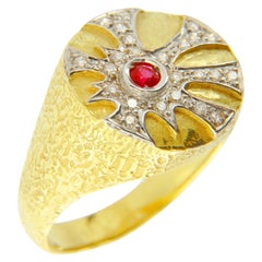 Sacchi Round Ruby and Diamonds Gemstone 18 Karat Gold Maya Cocktail Ring