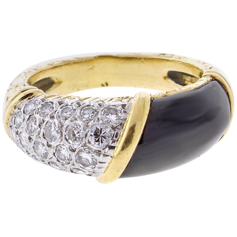 Van Cleef & Arpels Black Diamond and Onyx Band Ring