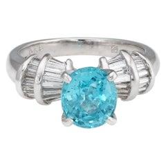 Natural Blue Zircon Diamond Ring Estate Platinum Fine Jewelry Engagement