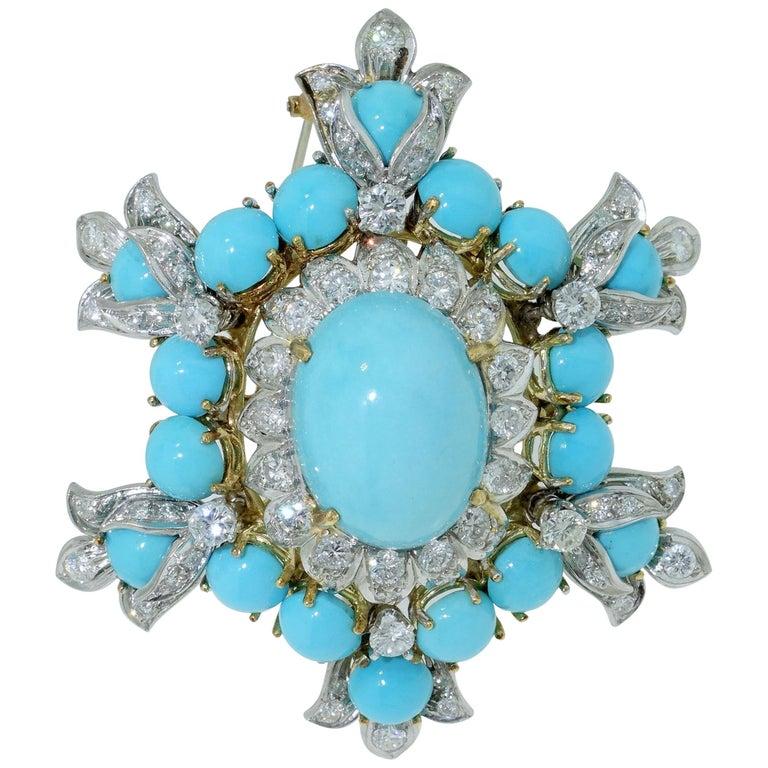Estate Henry Dunay Turquoise Diamond Pin Platinum 18K Gold Fine Designer Jewelry For Sale