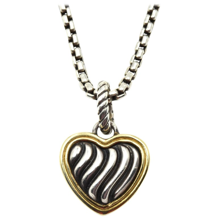 7d4a671ee0a8 David Yurman Sterling Silver and 18 Karat Gold Cable Collection Heart  Pendant For Sale