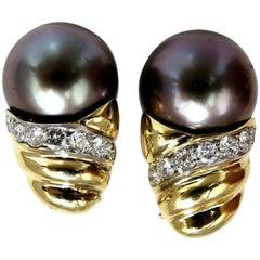 Natural Tahitian Pearl Diamonds Clip Earrings 18 Karat