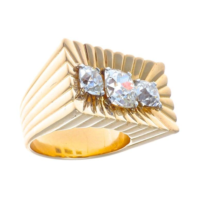 Bulgari Retro Diamond Gold Ring For Sale