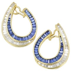 Sapphire and Diamond Baguette Earrings in 18 Karat Yellow Gold