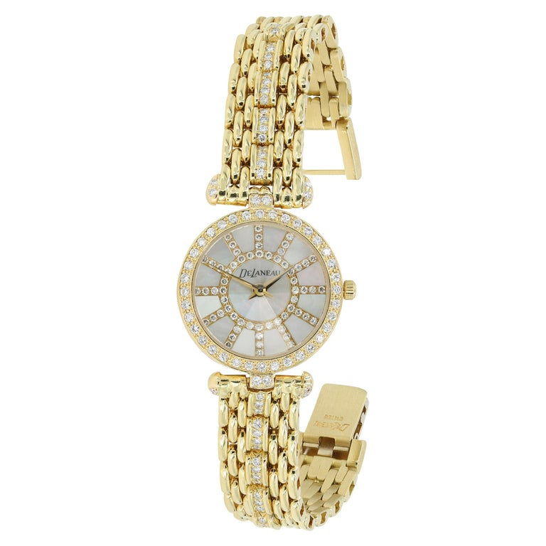 DeLaneau 18kt Yellow Gold & Diamond Bracelet Watch w/Faceted Crystal & MOP Dial For Sale