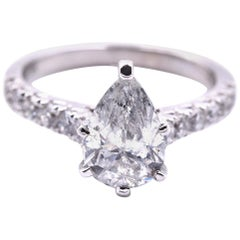 14 Karat White Gold Pear Cut Diamond Engagement Ring