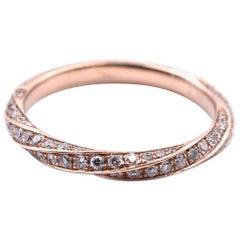 14 Karat Rose Gold Diamond Twist Band
