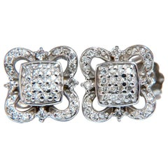 .40 Carat Cluster Squared Iconic Statement Earrings 14 Karat