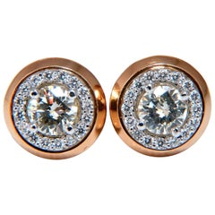 1.12 Carat Natural Round Diamond Stud Earrings 14 Karat Halo