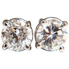 1.00 Carat Natural Round Brilliant Diamond Stud Earrings 14 Karat