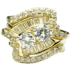 Ladies 18 Karat Yellow Gold Diamond Ring 2.80 Carat Total Diamond Weight