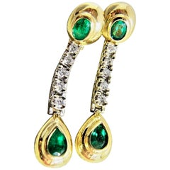 Dangle Emerald Diamond Estate Earrings