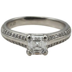 GIA Platinum Ladies Ring with Asscher Cut Diamond 1.31 Total Diamond Weight