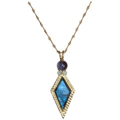 Daria de Koning Kite Shaped Labradorite, Iolite, and Aquamarine Necklace