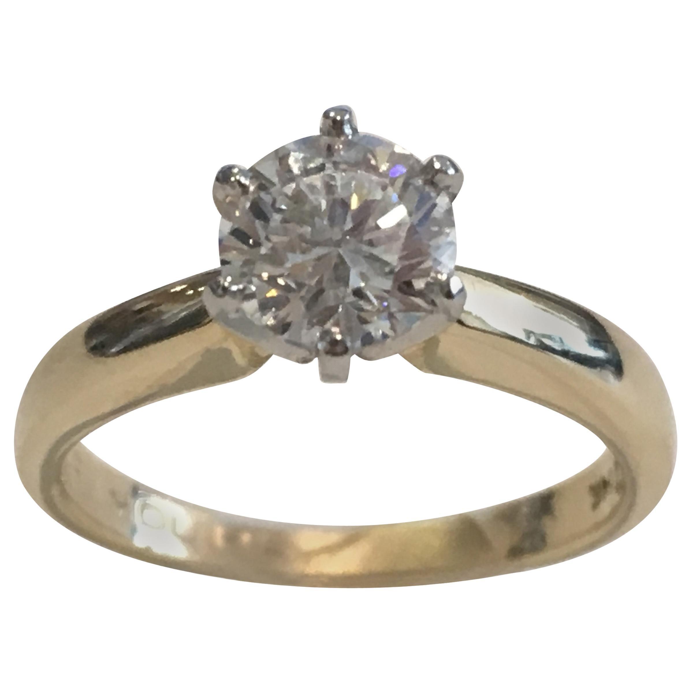 GIA Certified 14 Karat Yellow Gold Diamond Solitaire Engagement Ring
