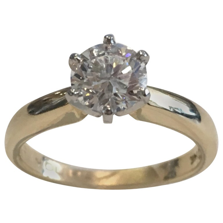 GIA Certified 14 Karat Yellow Gold Diamond Solitaire Engagement Ring For Sale
