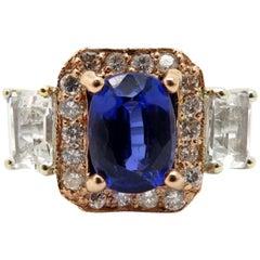 Estate Designer Levian 14K Rose and White Gold Tanzanite & Diamond Fashion Ring