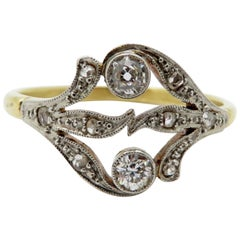 Antique Estate Platinum and 18 Karat Victorian Style Diamond Ring
