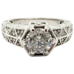 Estate 14 Karat White Gold Diamond Engagement Ring with a Pyramid Motif