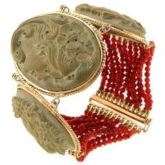 Lava 14 Karat Yellow Gold Coral Bead Cuff Bracelet