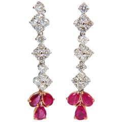 5.94 Carat Natural Red No Heat Ruby Diamond Dangle Earrings 14 Karat Unheated