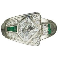 Rare 1940s Diamond and Emerald Ring in Palladium 1.83 E - VS1 Shield Cut