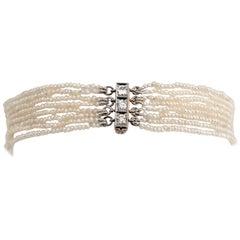 Antique Edwardian 8 Strand Seed Pearl Bracelet Vintage 14k Gold Diamond Jewelry
