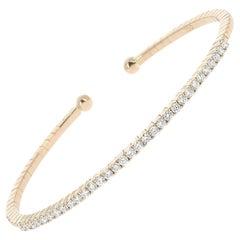 0.60 Carat Tennis Bracelet Cuff Bracelet Rose Gold