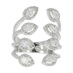 1.81 Carat GVS Round/Pear Diamonds 18K White Gold Diamond Fashion Rings