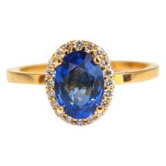 2.18 Carat Natural Vivid Blue Sapphire Diamonds Ring 18 Karat Petite Halo