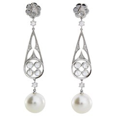Autore 18 Karat Gold White Diamond and South Sea Pearl Earrings